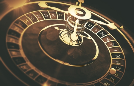 Vintage Roulette Gaming Concept 3D Render Illustration. Roulette Closeup.