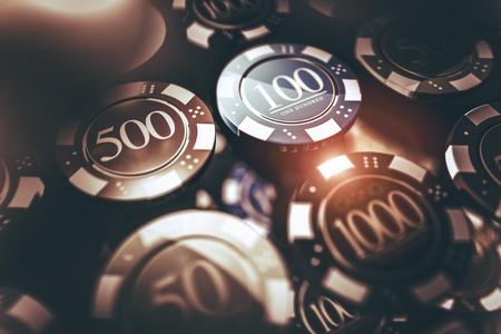 Casino Chips Gambling Concept 3D Render Illustration. Casino Games Chips.