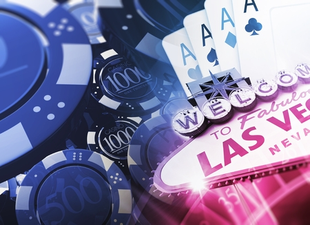 sin city: Casino Games Concept 3D Illustration with Famous Las Vegas Sign and Casino Chips. Stock Photo