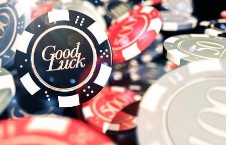 Good Luck Casino Chips Concept 3D Illustration. Casino Gambling Conceptual Illustration.