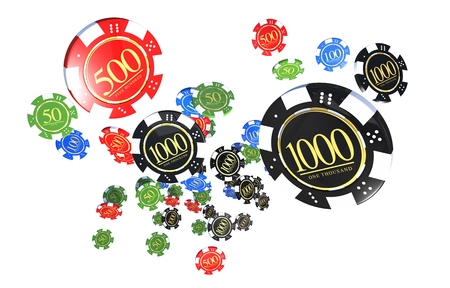 Casino Chips Isolated on White Background. Casino Games Playing Chips 3D Render Illustration
