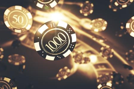 Hrající koncept hry pro ruletu. Elegantní Golden Roulette a Blowing Chips 3D Render Ilustrace. Téma hry Golden Gambling