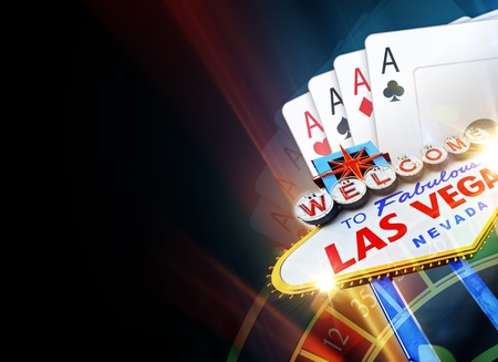 vegas strip: Black Poker and Roulette in Las Vegas Background with Copy Space Illustration.