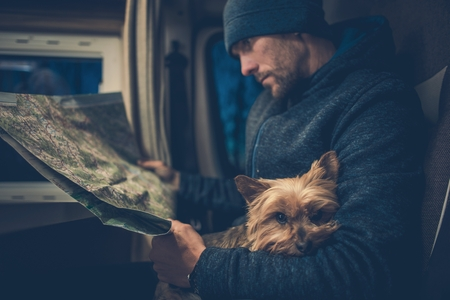 Men and His Dog Friend. Australian Silky Terrier York Relaxing on the Traveling Men Legs. Traveling Pet in the Class B RV Motorhome Camper. 版權商用圖片