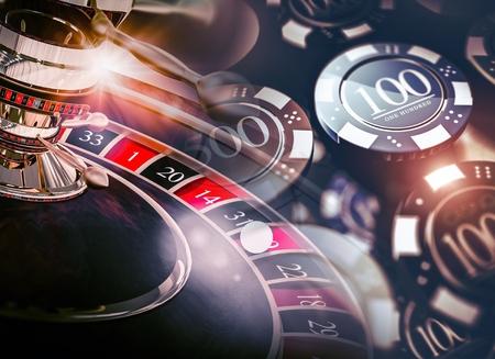 カジノ ルーレット ゲームのチップに概念の 3 D イラスト。カジノ ギャンブルのテーマ。