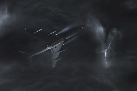 electric storm: Airplane Storm Flight Concept 3D Illustration. Commercial Airliner Between Heavy Electric Storm Clouds
