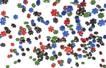Casino Chips in the Air Isolated on White. 3D Render Illustration Concept.