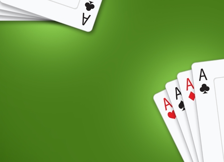 Poker Cards Green Table Background Illustration with Copy Space