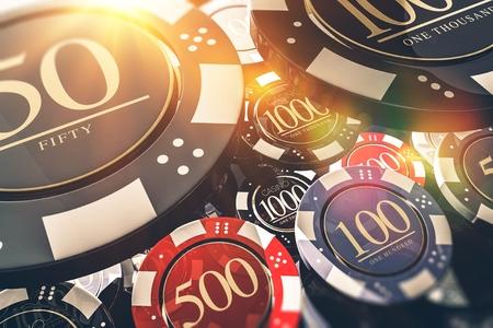 카지노 칩 도박 개념 3D 그림. 카지노 게임. 스톡 콘텐츠