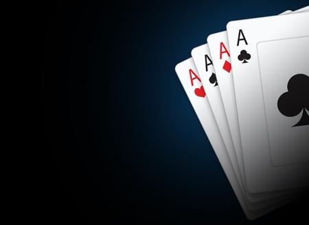 vegas strip: Playing Cards Illustration with Copy Space. Black Poker Cards Background.
