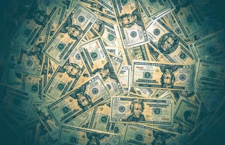 Pile of American Dollars. Twenty Dollars Banknotes Background