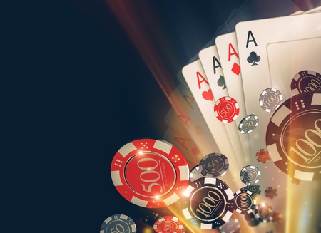 gambler: Casino Poker Chips Background with Copy Space. Casino Games 3D Illustration.