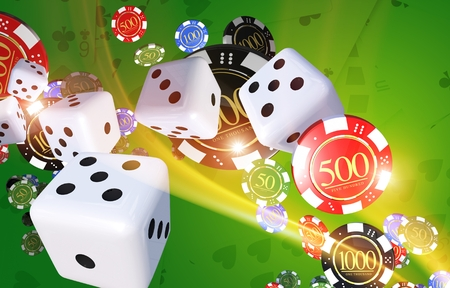 Casino Games Illustration Concept with Dices, Casino Chips and Playing Cards in the Background.
