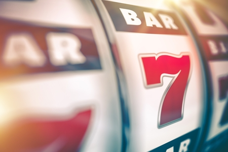 Slot Machine Lucky Casino Game. Slot Machine Closeup 3D Render Illustration. Reklamní fotografie