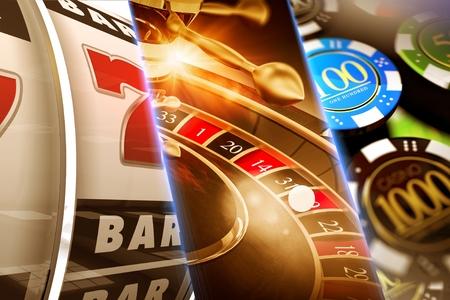 Glückliches Kasino-Spiele-Konzept-Abbildung. Roulette, Slots und Casino Chips.
