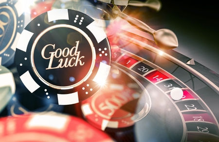 Roulette Good Luck Concept 3D Illustration. Casino Roulette Playing. Stock Photo
