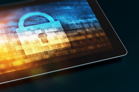 Secured Mobile Device. Tablet Computer with Security Concept on the Screen. Closed Padlock Concept. Mobile Technology Security.