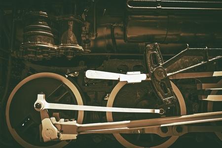 corrosion: Old Steam Locomotive. Sepia Color Grading. Vintage Railroad Technology.
