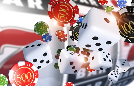 chips: Casino Gambling Illustration 3D Render. Casino Chips, Dices and Slot Machine in the Background. Stock Photo