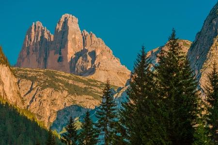 destination scenics: Tre Cime di Lavaredo Mountain Scenery. Laverado Peaks Italy, Europe.