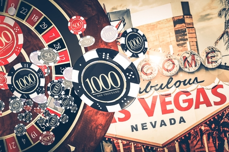 Vegas Casino Roulette Concept Illustration with Roulette Game, Casino Chips and Las Vegas Strip Sign in a Background.