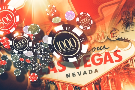 las vegas strip: Vegas Gambling Concept. Las Vegas Casino Games Concept Illustration.
