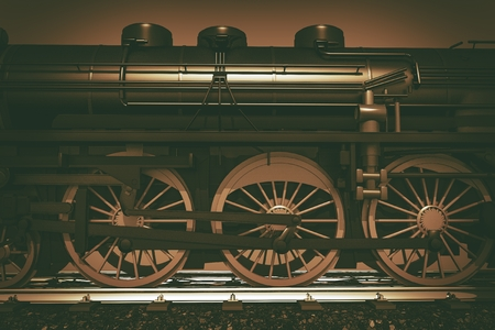 steam locomotive: Steam Locomotive Closeup 3D Render Illustration.