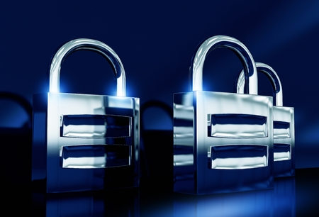 Metallic Padlocks Safety Concept 3D Rendered Illustration. Three Shiny Strong Locks on Metallic Blue Background.