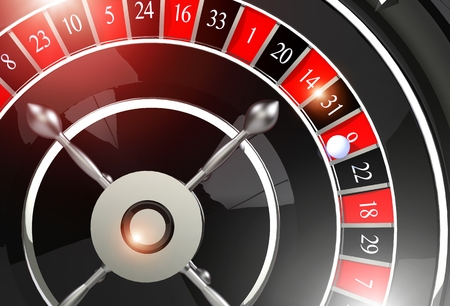 wheel spin: Roulette Wheel of Fortune. Elegant Black and Chrome Shiny Roulette Wheel Game. 3D Rendered Illustration.