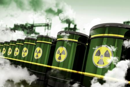 放射性有害廃棄物。有毒な工場に保存されている金属のバレルの有毒廃棄物。3 D レンダリングされた要素です。