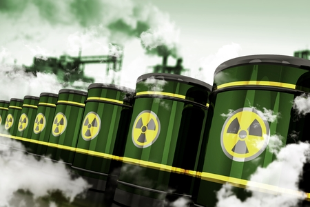 residuos toxicos: Radioactive Hazardous Waste. Toxic Waste in Metal Barrels Stored in Toxic Factory. 3D Rendered Elements. Foto de archivo