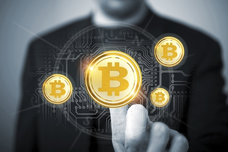 Bitcoin Trader Concept. Trading Bitcoin criptovaluta concettuale Finanza Illustrazione.