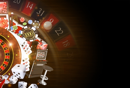 casinos: Copy Space Casino Background 3D Rendered Illustration. Dark Casino Gambling Theme.