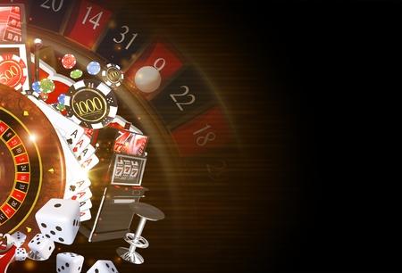Copy Space Casino Tło 3D świadczonych ilustracji. Ciemne Kasyno hazard Theme.