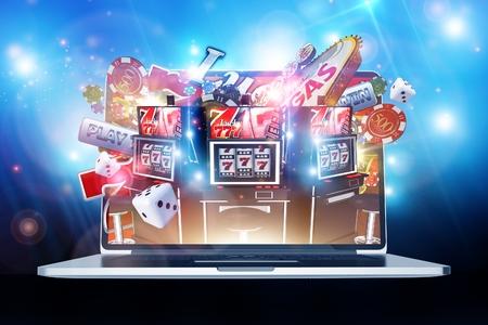 온라인 카지노 도박 개념 3D 렌더링 그림입니다. 인터넷에 라스베가스 카지노 게임. 랩톱 컴퓨터 개념입니다.