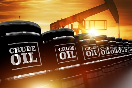 Crude Oil Trading Concept with Black Crude Oil Barrels and Oil Pump During Sunset. 3D Rendered Barrels.