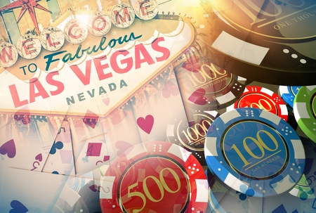 Vegas Casino Games Concept Illustration with 3D Rendered Elements. Famous Las Vegas Entrance Sign, Poker Cards and Casino Chips. Stock Photo