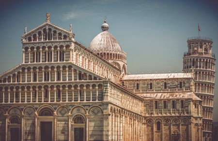 miracoli: Pisa Italy Piazza Dei Miracoli Historical Cathedral Buildings with Famous Leaning Tower of Pisa. Stock Photo