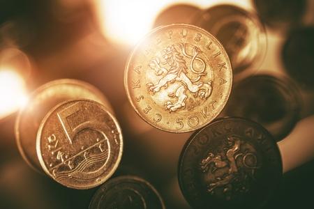 koruna: Czech Koruna Coins Macro Closeup. Czechia Currency.