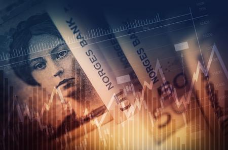 nasdaq: Norwegian Krone Forex Concept. Norway Currency Business Concept.