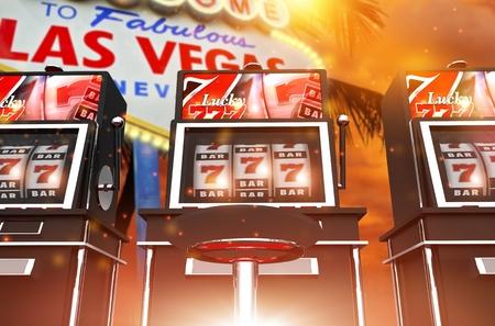 vegas strip: Famous Las Vegas Slot Games. One Handed Bandit Las Vegas Concept 3D Rendered Illustration. Famous Vegas Strip Sign in the Background. Stock Photo