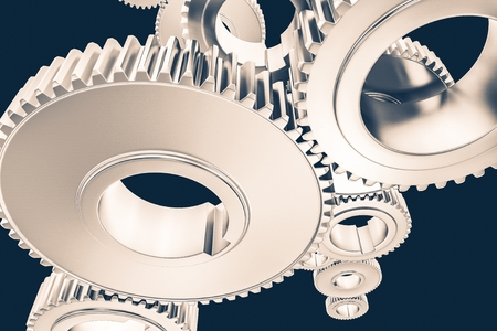 Advanced Mechanism Concept 3D Rendered Illustration. Working System Conceptual Illustration. Shiny Metallic Cog Wheels.