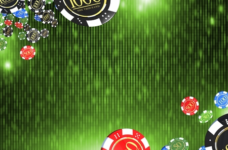 Casino Chips Green Background with Center Copy Space. Abstract Casino Backdrop 3D Rendered Illustration.