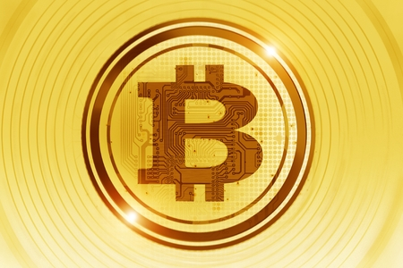 Golden Bitcoin Concept Illustration. Bitcoin Currency Trading. Cryptocurrency Concept