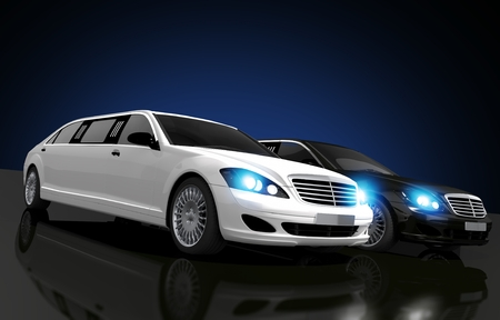 limo: Limousines For Hire Conceptual 3D Rendered Illustration. Two Limousines, Black and White on a Glassy Floor.