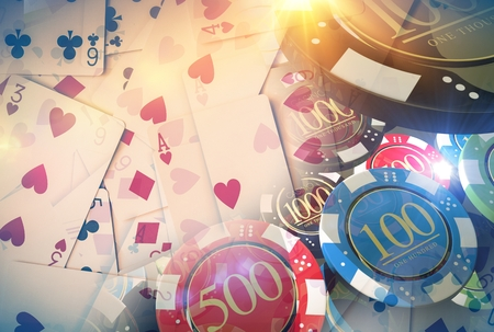 Poker Game Illustration Concept with Poker Cards and Casino Chips. Stock Photo
