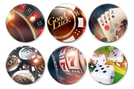 vegas strip: Six Isolated Casino Badges. Casino Roulette, Poker, Chips, Dices, Slot Machines and Good Luck Concept Badge. Stock Photo