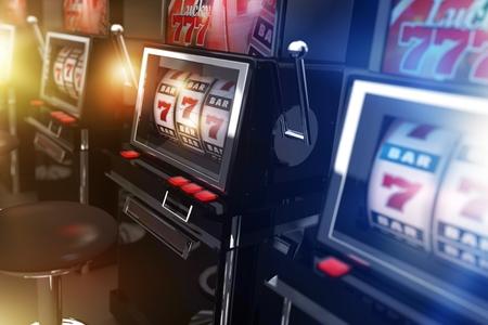 tragamonedas: Vegas del casino de máquinas tragamonedas 3d Ilustración. De un solo brazo máquinas de casino bandido. Concepto de juego