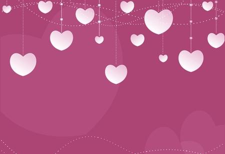 Pink Hearts Lovely Background Illustration. Hearty Backdrop.