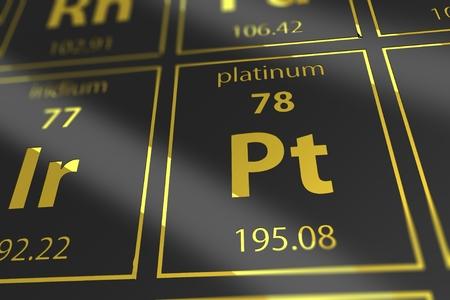 mendeleev: Periodic Table Platinum Chemical Element Closeup. 3D Rendered Illustration Mendeleev Table Platinum in a Spot.